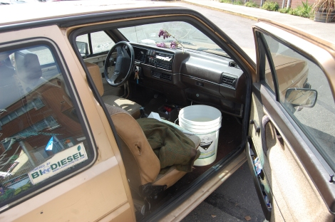 Bucket o' Salmon riding in a biodiesel mobile