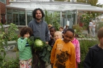 Fresh cabbage w/ garden coordinator Anthony