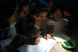 Learning by solar lamp at night