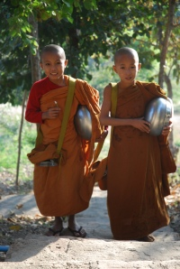 Monks on their daily walk for alms